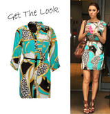 Turquoise Chain Print Shirt Dress